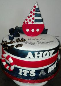 ahoy sailor theme baby shower cake