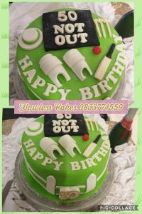 50th cricket themed cake
